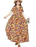 YESNO Women Casual Loose Long Maxi Bohemian Floral Dress Lightweight Summer Beach Short Sleeve Swing Dress with Pockets E100TYP2 (L EJF CR09)