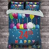 Toopeek 25 cumpleaños paquete de 3 (1 funda de edredón y 2 fundas de almohada) fiesta de cumpleaños 24 alegre ocasión de humor vuelo baloons estrellas Happy Vibes poliéster (completo) multicolor