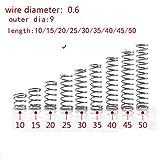 NO LOGO L-Yune, 20pcs 0,6 Millimetri 0.6x9mm Acciaio Inossidabile Molla Filo Diametro 0,6 Millimetri Diametro Esterno 9 Millimetri Lunghezza 10-50mm (Taglia : 25mm)