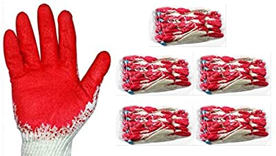 Red Latex Palm Coated Work Safety Gloves, Rubber Palm Coated Safety Cotton Gloves, Made in Korea