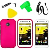 Phone Cover Case Cell Phone Accessory + Car Charger + Stylus Pen + LCD Screen Protector + Extreme Band + Yellow Pry Tool For Motorola Moto E 2nd Gen 4G LTE 2015 (Pink)