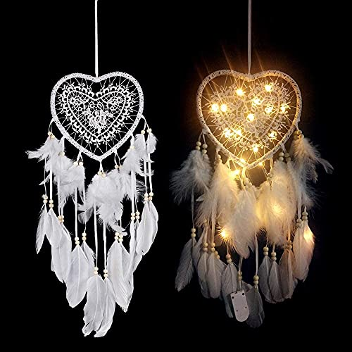 Ann Bully Light up Dream Catcher with Lights White Feather Lights for Teen Girl Room Boho Bedroom Decorations Hanging Dream Catcher with LED String Lights(Heart)