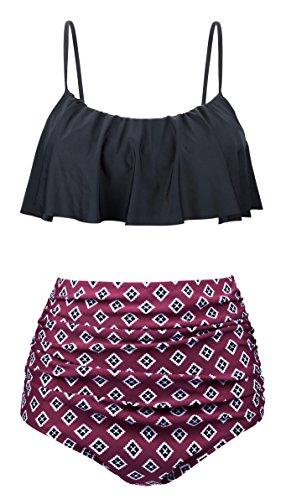 Angerella Damen Halter Tops Ruffle Push Up Bikini Set Sommerstrand Badeanzug