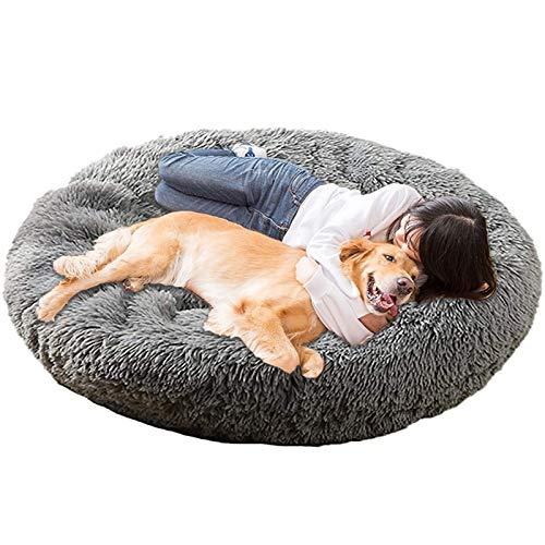 Jumbo Extra Large xxxl Dog Bed Orthopedic Donut Calming Anti Anxiety Cushion Fluffy Plush Sofa Wicker Heated Cave XXL Sleep Basket xl Washable Medium dark grey