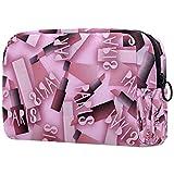 Sacchetti cosmetici per donna, sacchetti per trucco Ampio astuccio da toilette Accessori da viaggio Regali - Fashion Pink Lipstick Paris
