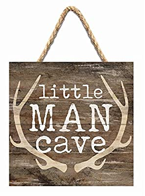 P. Graham Dunn Little Man Cave Antlers Rustic Brown 7 x 7 Inch Wood Pallet Wall Hanging Sign