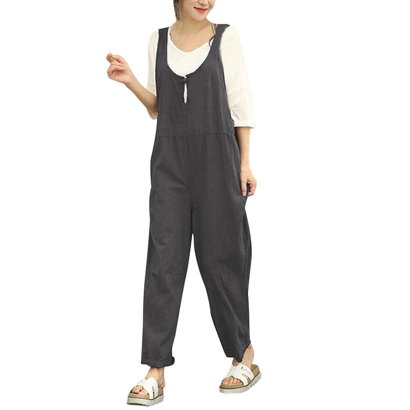 Jushye Women's Dungarees,Sleeveless Loose Cotton Long Playsuit Jumpsuit Wide Leg Pants Trousers