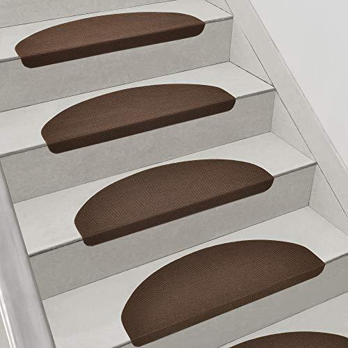 [en.casa] Stufenmatten im 15er Set Braun Halbrund Schalldämmend Treppenmatten rutschfest Treppenteppich Treppenschoner