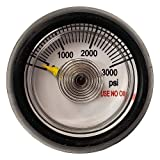 Cylinder Contents Gauge | 1/8' FNPT Port | 0-3000 PSI | for Helium and Other Inert Gas Cylinders | 1-1/4 Face Protective Rubber Boot | Center Back Mount