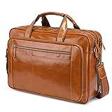 BAIGIO Men's Leather 17' Laptop Business Briefcase Shoulder Tote Bag Portfolio Satchel Lawyers Briefcases for Men (Tan)