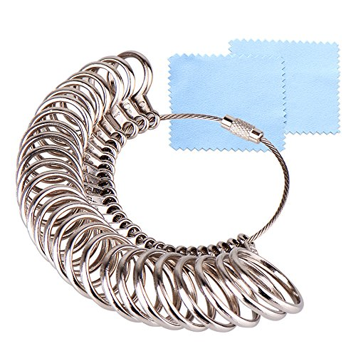 KUUQA Size 1-13 Stainless Iron Ring Sizer Finger Ring Sizing Measuring Tool Ring Sizer Gauge Set 27 Pieces Circle Models with 2 Piece Jewelry Polishing Cloth