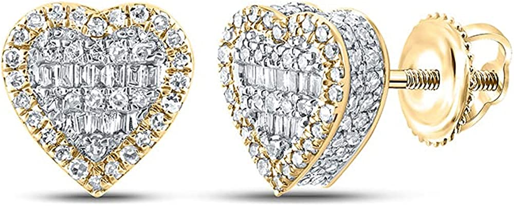 10kt Yellow Gold Mens Baguette Diamond Heart Earrings 1/2 Cttw