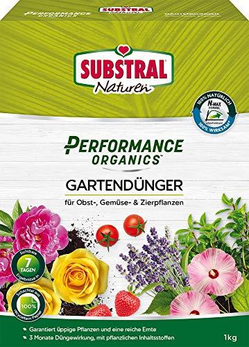Substral Naturen Performance Organics Gartendünger, Organischer Dünger für alle Gartenpflanzen, 3 Monate Langzeitwirkung, 1 kg