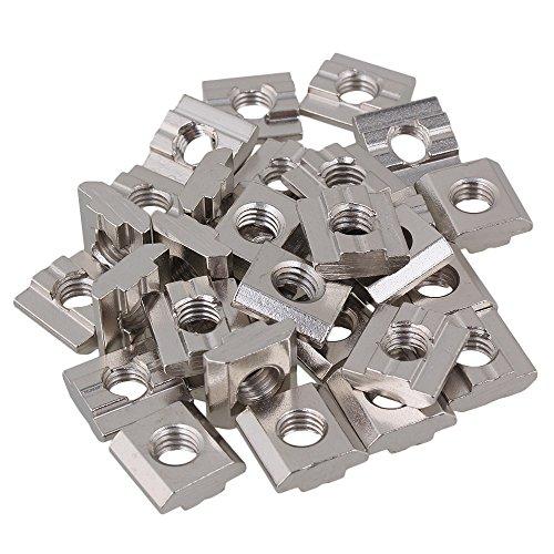 T8-Gleitmuttern aus silbernem Kohlenstoffstahl M8-Gewinde für Aluminiumprofil-Extrusionsschlitz der europäischen Standard-30-Serie Packung mit 30 Stück