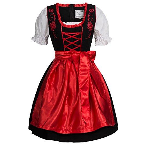 Gaudi-Leathers Damen SW2550 Dirndl, Schwarz (Rot Schwarz 050), 42