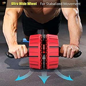 FARI Ab Roller for Abs Workout, Core Fitness Resistance Equipment Wheel, Ab Wheel Roller for Home Gym Exercise Machine (Red)