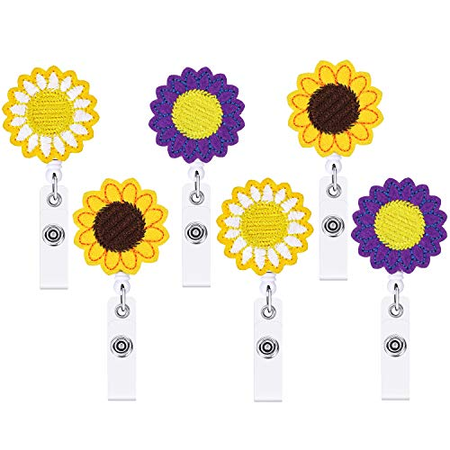 6 Pack Sunflower Retractable Badge Holder with Alligator Clip, 24 inch Cute Name Card Badge Reel Clip-On Card Holders for Nurse Volunteer Teacher and Office Use