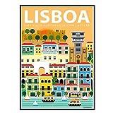 GUICAI Lisboa Portugal Viajes Arte Pared Carteles de Arte Pintura impresión Sala de Estar decoración del hogar-50X70 cm sin Marco 1 Uds