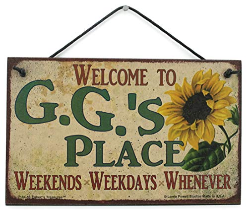 Egbert's Treasures 5x8 Vintage Style Sign with Sunflower Saying, Welcome to G.G.'S Place Weekends, Weekdays, Whenever Decorative Fun Universal Household Family Signs for Grandma