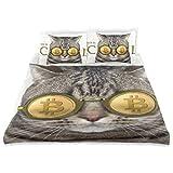Zozun Juego de Funda nórdica Cat Bitcoin Gafas Hay inscripción Cool Decorativo Juego de Cama de 3 Piezas con 2 Fundas de Almohada