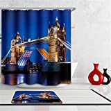 Generic Marilyn Monroe, 150cm wide180cm hoch: Scenery 3D wasserdicht Duschvorhang London Bridge Stoff Badezimmer Vorhang Marilyn Monroe modernes Eagle Bad Vorhang mit Haken