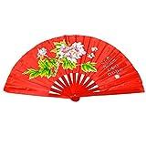 Éventail chinois en bambou Idéal pour la pratique du tai chi/danse, Peony flower red background