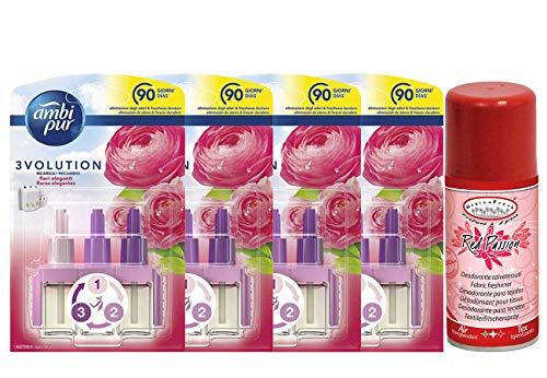 DC AMBIPUR 3 Volution Set 4 RICARICHE, Fiori Eleganti, 21 ML più Deodorante SALVATESSUTI 150 ML Vanilla