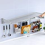 ACXZ Soporte para microondas Rejilla Plegable de Pared para Horno de Cocina, Rejilla para Especias,...