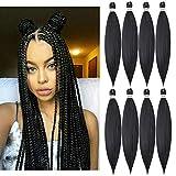 Pre-stretched Braiding Hair Extension Professional Crochet Braiding Hair 24 Inch 8 Packs Yaki Synthetic Crochet Twist Hair Natural Black (1B)