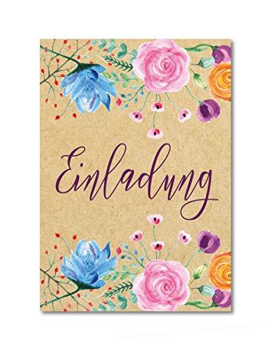 10 Einladungskarten Vintage Flower Beige/großes Format A5 Hochformat/für Hochzeit Geburtstag Konfirmation und viele weitere Anlässe