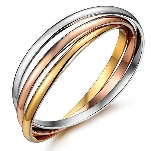 Kim Johanson Pulsera de acero inoxidable para mujer, tricolor, con 3 anillos cerrados, oro rosa, oro y plata, incluye bolsa de regalo