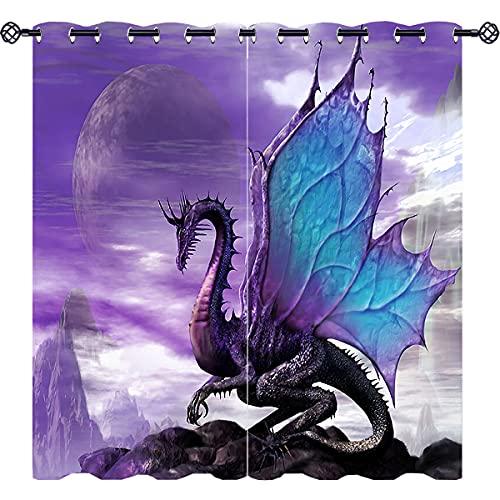 kendreagu Magic Wildlife Animal Purple Dragon Insulated Blackout Curtains Colorful Fantasy Theme Curtains 3D Art Print Microfiber Fabric Eyelet Darkening Window Drapes Set of 2 Panels (W36 x L63)