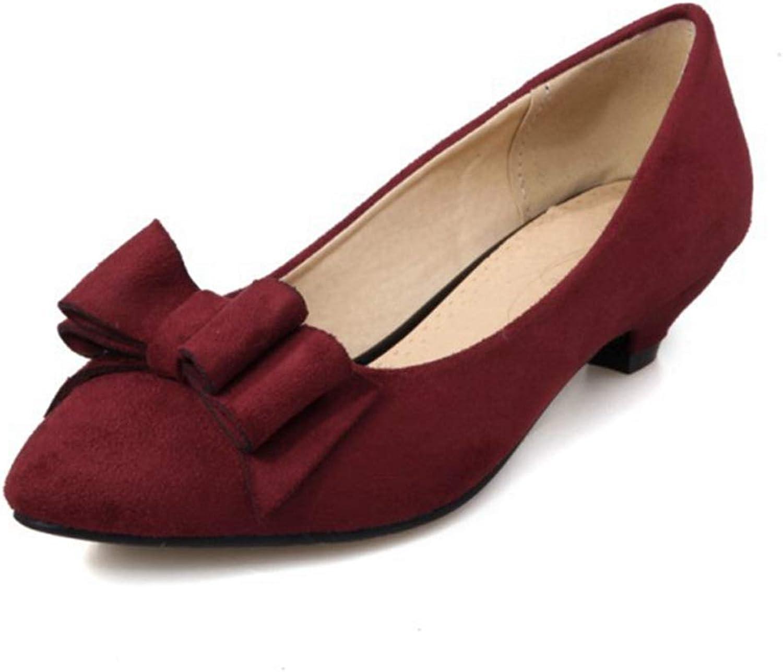 GIY Womens Fashion Pointy Toe Low Heel Pumps Bowknot Office Dress Slip On Dress Wedding Bridal shoes