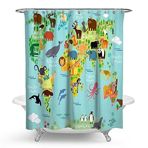 "kisy Kids como animales mapa del mundo impermeable baño cortina de ducha tamaño estándar cortina de ducha Cartoon Wildlife continente Forest 70""x 70"" azul"