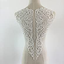 1 Piece Ivory White Lace Applique Neckline Collar Appliques Embroidery Lace Trim Fabric Cloth Sewing Patchwork DIY Craft