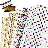 Papel Para Envolver Regalos, GuKKK 6 Hojas Papel de Regalo + 2 Rollo de Cinta, Niños Niñas Cumpleaños Papel Regalo, para Navidad, Cumpleaños, San Valentín, Día De Fiesta, Baby Shower (70 x 50cm)