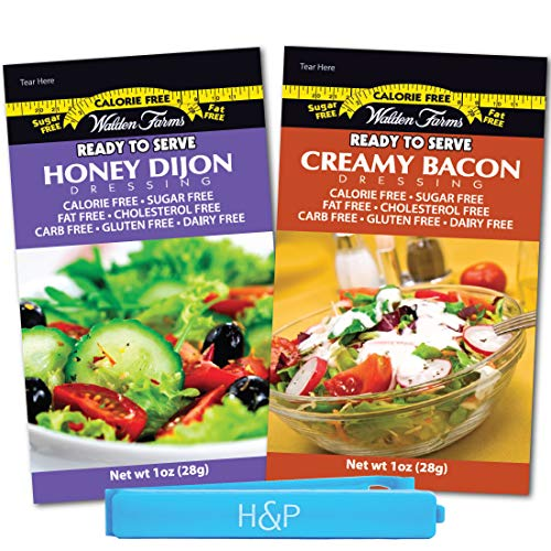 Walden Farms Salad Dressing Packets - Favorite Flavors Pack in Ready to Serve Calorie Free Flavors, 20 - 1 oz Pouches Includes 10 Creamy Bacon and 10 Honey Dijon Packets with H&P Bag Clip