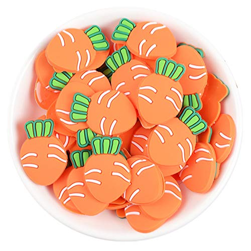 50 Pack 3D Fruit Vegetable Slime Charms Resin Flatbacks Buttons Polymer Clay Beads for Miniature Fairy Garden Hair Accessories Home Decorations (Carrots)