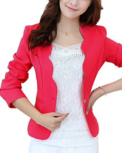 ZhuiKun Donna Blazer Slim Fit Maniche Lunghe Corta Giacca Casual Jacket Rose S