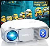 WiMiUS S4 Native 1080P Projector, Bluetooth 5.0 Projector 7500L Full HD, Support 4K / Zoom / 300' Display, Home & Outdoor Movie Projector Video Projector for Fire Stick, HDMI, USB,TV Box, Laptop