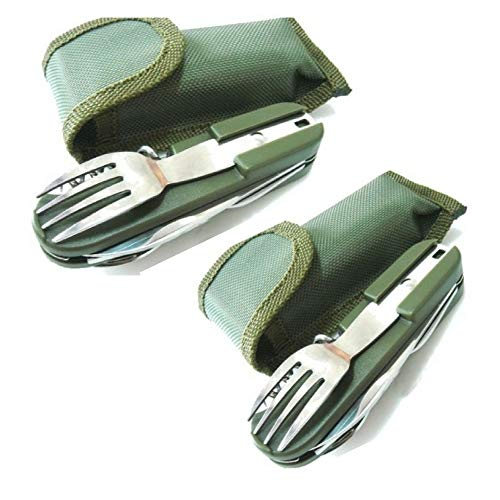 2 Travel Cutlery Sets With Case Camping Gear Utensil Fork & Spoon Set Stainless Steel 7 in 1 Foldable Portable Compact Reusable Multi Tools Silverware Set For Outdoor & Backpacking