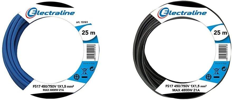 Electraline 13092Cable unipolar FS17, sección 1 x 1,5 mm², azul, 25 m + 13072Cable unipolar FS17, sección 1x 1.5mm², Negro, 25m