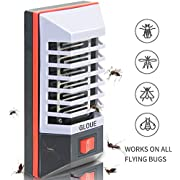 GLOUE Bug Zapper, Indoor Plug-in Mosquito Trap with LED Light, Non-Toxic LED Insect Killer, Eliminates Flying Pests Flies Gnats Moth and Bugs