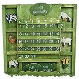 置物 卓上 カレンダー 木製 万年カレンダー 永久 カレンダー インテリア かわいい 動物 (グリーン)