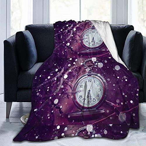 Fodmua Púrpura Retro Reloj Sofá Manta Super Suave Felpa Unisex Otoño Invierno Cálido Franela Mantas D4461