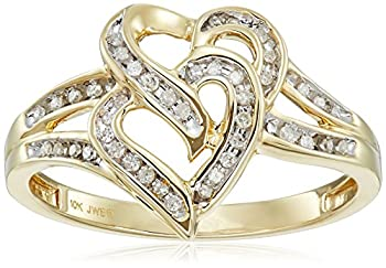 10K Yellow Gold Diamond Two Hearts Ring  1/10 cttw  Size 8