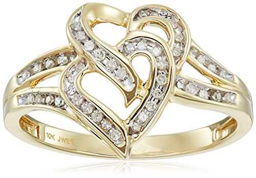Amazon Collection 10K Yellow Gold Diamond Double Heart Ring (1/10 cttw), Size 7