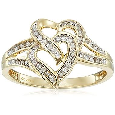 10k Yellow Gold Diamond Heart Ring (1/10cttw,...