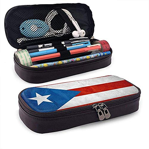 Cute Pencil Case - Bolsa de maquillaje para organizador de papelería (bandera de Puerto Rico)
