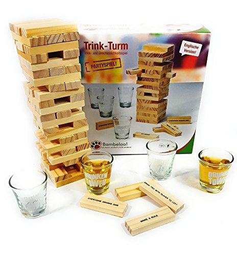 Bambelaa! Trinkspiel Partyspiel Wackelturm Drunken Tower inklusive Vier Trinkgläser ca. 4cl (Englische Version)